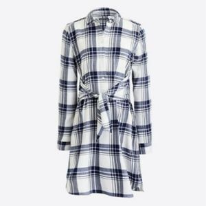 J. Crew Tied Waist Plaid Flannel Shirtdress